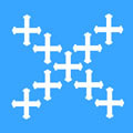 white crosses, blue field
